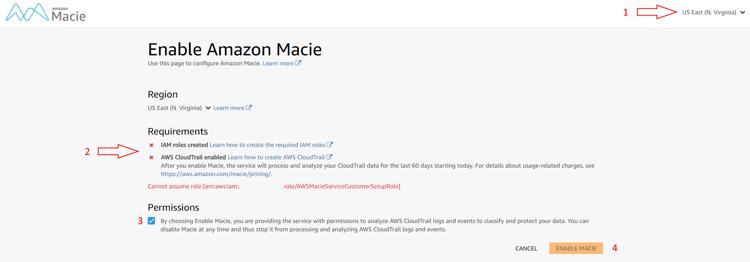 Stap 1: enable AWS macie